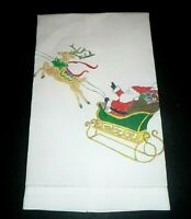 Vintage Hand Painted Fine Linen Christmas Holiday Guest Towel Santa on Sleigh