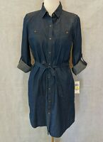 MAISON JULES Women's Denim Dress Role Tab Sleeves And Pockets Sz M $79  NWT!