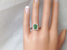 1.32Ct Genuine Natural Emerald And Diamond Ring In Solid 14K White Gold, Emerald