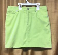 Womens Ralph Lauren Black Label Lime Green Cotton Velvet Mini Skirt Size 2