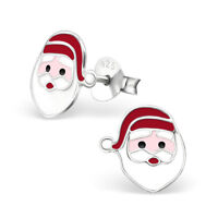 925 Sterling Silver Santa Reindeer Father Christmas Tree Stud Earrings Gift Set