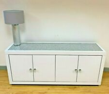 Large White Glass Diamond Crystal Glitter Top 4 Door Cabinet Sideboard Cupboard