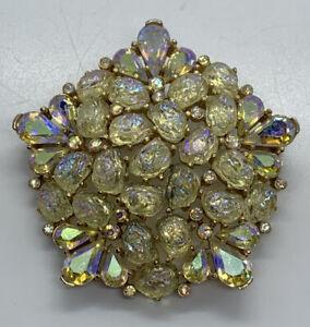 Estate Vintage Crown Trifari Aurora Borealis Ice Gold Plated Brooch