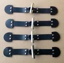 4x EMBOSSED Black Leather, Silver METAL TUBE TOGGLE BUTTON, Duffle Coat Fastener