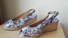 Castañer Sandals Espadrilles Wedges - Blue/White, Size:6.5 UK (EUR 40)-Brand New
