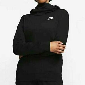 🔥 Nike Sportswear Fleece Funnel Neck Hoodie Women's Size M Black BV4526-010 🔥