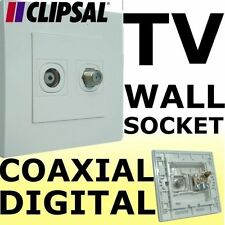 Clipsal 2 way TV Aerial & COAXIAL F Outlet Wall Socket