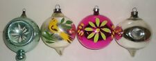 4 Vintage Glass CORNING Christmas ORNAMENTS HAND PAINTED TEARDROPS -TOP -INDENT