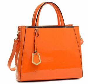 Dasein Structured Satchel Briefcase Handbag, Tablet, iPad Bag - Orange