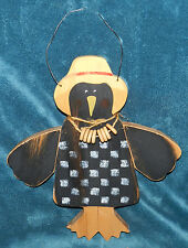 Adorable Primitive Distressed Wood Crow Checkerboard Wall Hanging! Hand Crafted!