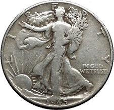 1945 WALKING LIBERTY Half Dollar Bald Eagle United States Silver Coin i44716