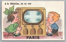 PARIS On Va Voir TELEVISION Vintage Multiview CPA Cute Kids Tele Bozz 1950s