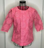 Pretty BODEN Pink Daisy Floral Embroided 3/4 Sleeves Button Back Top UK 10