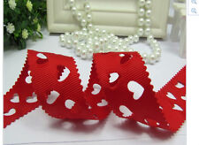 Red Hollow Heart Shape Ribbon 22mm Wide Valentines Day