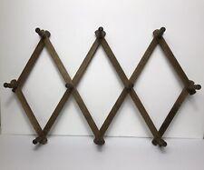 Vintage Nevco 10 Peg Wooden Wall Hanger Rack Expandable Accordion Hats Coat Mugs