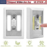 2pcs Cordless LED Night Light 200 Lumen COB LED Switch Battery Powered White