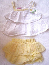Young Hearts-Baby Girls-Yellow Eyelit Lace-Guess-Ruffle Skirt Shirt Dress-6-9 mo
