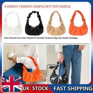 Vintage Underarm Bag Baguette Mini Handbag Casual Women Pleated Armpit Bag UK