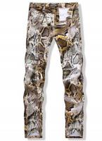 Mens Fashion Slim Fit Jeans Snake Nightclub Printed Skinny Pattern Pants Size
