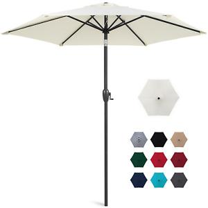 7.5ft Heavy-Duty Outdoor Market Patio Umbrella w/ Push Button Tilt, Easy Crank L