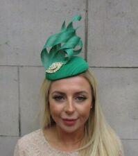Emerald Green Gold Statement Pillbox Hat Hair Fascinator Formal Wedding Races u1