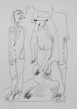 Zeichnung Mann Kuh Max Müller Kunstakademie Düsseldorf Tusche Unikat auf Papier