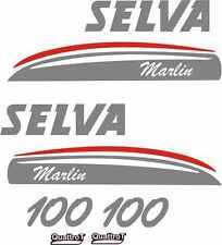 Adesivi motore marino fuoribordo Selva Marlin 100 hp 4 t gommone barca stickers