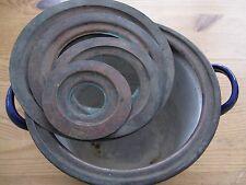 Vintage Enamel Pot Copper Rings Lid Apothecary Rare Bain Marie
