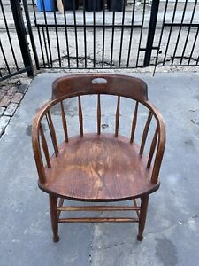 Antique Windsor by S. BENT & BROS Colonial Maple Wood Arm Chair