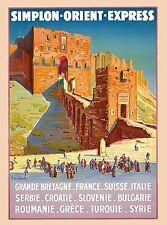 Syria Simplon Orient Express Greece Vintage Railway Travel Poster Advertisement