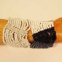 Set of 2 White Black Multi Strand Handmade Swag Stretch Seed Bead Bracelets