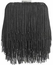 INC Colie Fringe Black Clutch Party Handbag