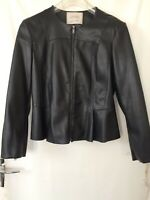 Ladies Black Leather Look Zip Up Jacket From Zara Size Large