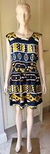 American Apparel CUT-OUT SCHOOL GIRL Blue/Mustard Static  DRESS Casual Size M/L