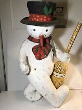 Large 23� Paper Mache Snowman with Broom. Rare
