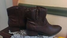 G by Guess Wicked  Dark Brown Ankle Zip Cowboy Boots Size 6 1/5M Never Worn!