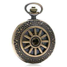 Retro Bronze Hollow Design Men Women Quartz Pocket Watch Necklace Chain Round