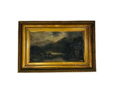 Mountain Landscape Painting by J. A. Boel, Original Vintage Oil Painting, 0190JW