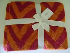 """Pottery Barn Chevron Knit Oversized Throw Hibiscus 55"""" x 80"""" ~ Sold Out@Pb"""