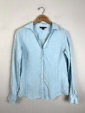Womens 346 Brooks Brothers Baby Blue Flax Linen Button Up Shirt Top Size 6 S