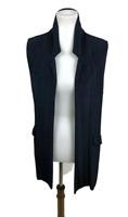 Chico's Travelers Women's Size 1 M/8 Slinky Knit Open Front Vest Navy Blue