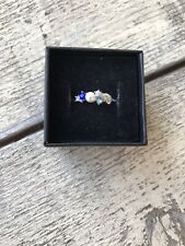 NWT Fragrant Jewels Silver Tone YOU, ME & THE SEA Blue Crystal Pearl ring 8