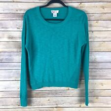 So Juniors Sweater Cotton Knit Crew Neck Lightweight Dolman Sleeve Green Small