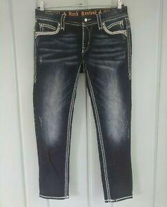 Rock Revival Mei Ankle Skinny Womens 30 Jeans Rhinestones Bling Dark 33x29 Faded