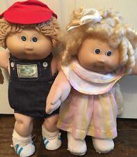 Cabbage Patch Kids VTG Dolls Blonde Blue Eyes Lot Of 2 Boy/girl Shirley Temple
