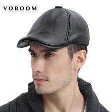100% Genuine Leather Winter Hat Men Ivy Cap Beret Gatsby Newsboy Cap Black XL