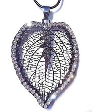 GUNMETAL FILIGREE LEAF SKELETON pendant crystal rhinestones chain necklace 3C