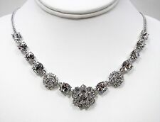 Givenchy Crystal Floral Bezels Necklace Silver Tone Metal Statement Jewelry