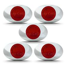 "(5) 3"" x 2"" Led Red Side Marker Lights 3SMD Clearance Light Universal Chrome"