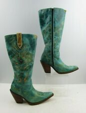 Ladies Corral Turquoise Distressed Leather With StudDetail Cowgirl Boots Size:7M